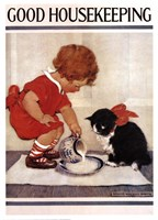 Good Housekeeping Milk And Kitten Fine-Art Print