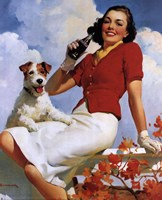 Coca-Cola Lady with Dog Fine-Art Print