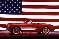 Corvette, 1957 - Us Flag Wall Poster