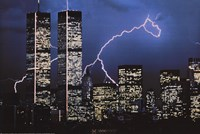 Lightning over World Trade Center Wall Poster