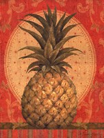 Grand Pineapple Red Framed Print