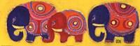 Famille Elephants En Jaune Fine-Art Print