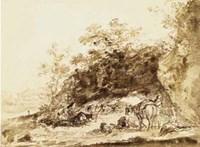 Sepia Landscape with Horses Fine-Art Print