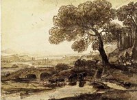 Sepia Landscape with Bridge Fine-Art Print