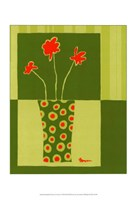 Minimalist Flowers in Green I Fine-Art Print