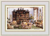 Library Sitting Room in an American Country House Fine-Art Print