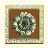 Brown & Blue Rosettes I Giclee