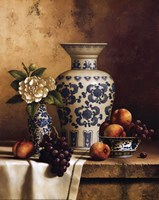 Blue and White Oriental Still Life with Peaches and Grapes Fine-Art Print