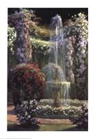 Jardin Fleuri au Jet d'Eau Fine-Art Print