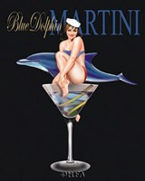 Blue Dolphin Martini Framed Print