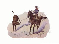 Cowboy Leading Calf Fine-Art Print