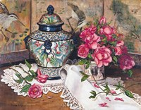 Roses with Temple Jar Fine-Art Print