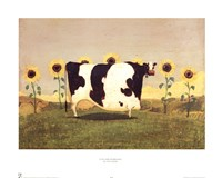 Cow With Sunflowers Fine-Art Print