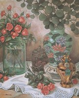 Roses with Bird Cage Fine-Art Print
