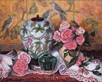 Roses with Green Jar Fine-Art Print