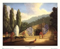 Garden with Peacock and Fountain Fine-Art Print