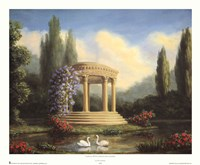 Garden with Swans and Gazebo Framed Print