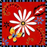 Daisies And Butterflies-Red Fine-Art Print