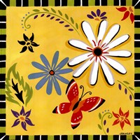Daisies And Butterflies-Yellow Fine-Art Print