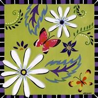 Daisies And Butterflies-Green Fine-Art Print