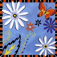 Daisies And Butterflies-Blue Fine-Art Print