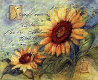 Sunflowers On Blue Fine-Art Print
