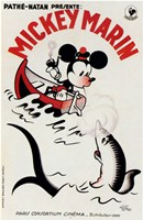 Mickey Mouse on a boat Wall Poster