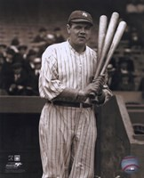 Babe Ruth - with 3 bats Fine-Art Print
