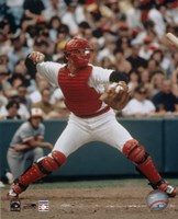 Carlton Fisk - Throwing in catchers gear Fine-Art Print