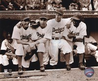 Jackie Robinson - First Day, with Spider Jorgenson, Pee Wee Reese, Ed Stankey Fine-Art Print