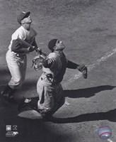 Yogi Berra - catching action / sepia Fine-Art Print