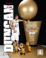 Tim Duncan 2005 - MVP with 3 Trophies  (#3) Fine-Art Print