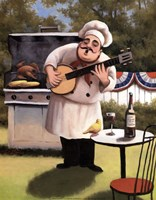 Barbecue Chef and Banjo Fine-Art Print