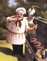 Barbecue Chef with Hot Sauce Fine-Art Print