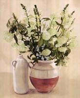White Flowers In Vase With Bottle Fine-Art Print