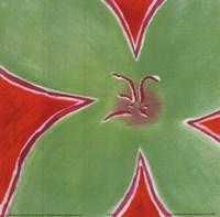 Green Flower With Orange Background Fine-Art Print