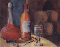Wine Bottle With Glass Fine-Art Print