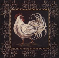 Black & White Rooster II Framed Print