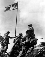 American Soldiers raise the first US flag at  Iwo Jima 1945 Fine-Art Print