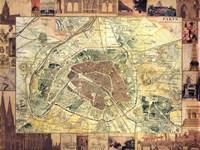 Carte de Paris II Fine-Art Print
