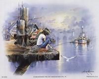 Little Girl Fishing on Dock Fine-Art Print