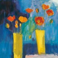 Cadmium Orange Poppies on Blue Fine-Art Print