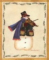 Snowman Playing Fiddle Fine-Art Print