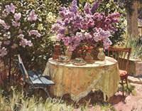 Garden Table with Blue Chair Fine-Art Print