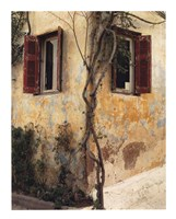 Two Windows, Red Shutters Fine-Art Print