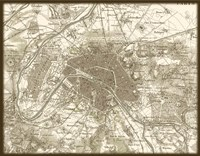 Sepia Map Of Paris Fine-Art Print