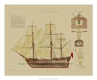 Antique Ship Plan VIII Giclee
