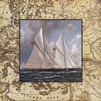 Classic Island Map I Fine-Art Print