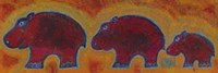 Famille Hippopotame Rouges Fine-Art Print