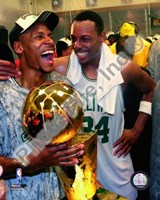 Ray Allen & Paul Pierce, Game Six of the 2008 NBA Finals With Trophy, In the Locker Room #34 Fine-Art Print